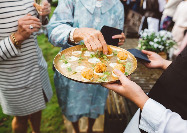 Canapes For Wedding Guests // Valeria By Pronovias Bridal For Elegant At Home Wedding With Clear Marquee And White Florals And Images From Holly Carlin Photography