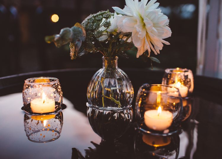Tealights For Wedding Reception // Valeria By Pronovias Bridal For Elegant At Home Wedding With Clear Marquee And White Florals And Images From Holly Carlin Photography