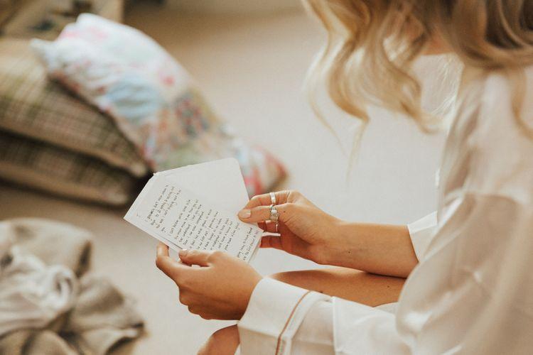 Bride on Wedding Morning Reading a Card