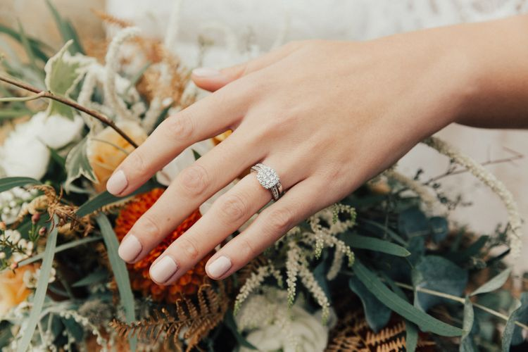 Bride with Nude Nails and Diamond Engagement Ring