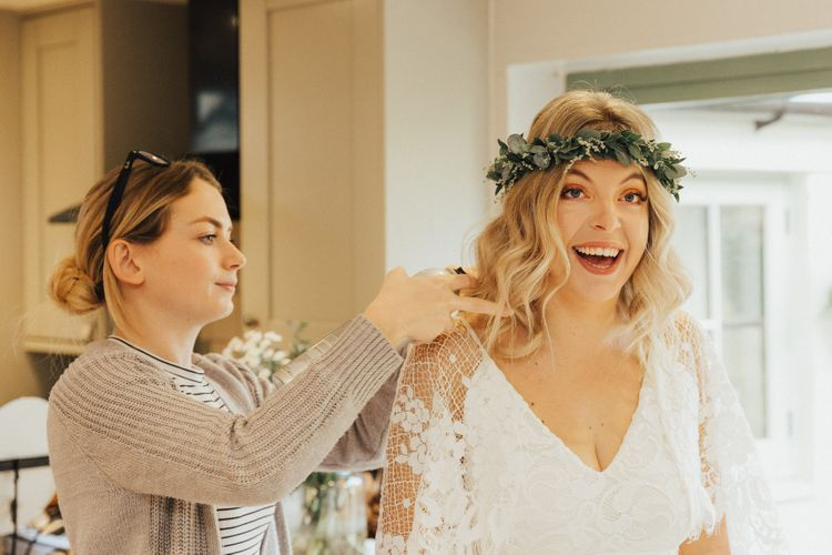 Boho Bride with Foliage Flower Crown and Loose Curls