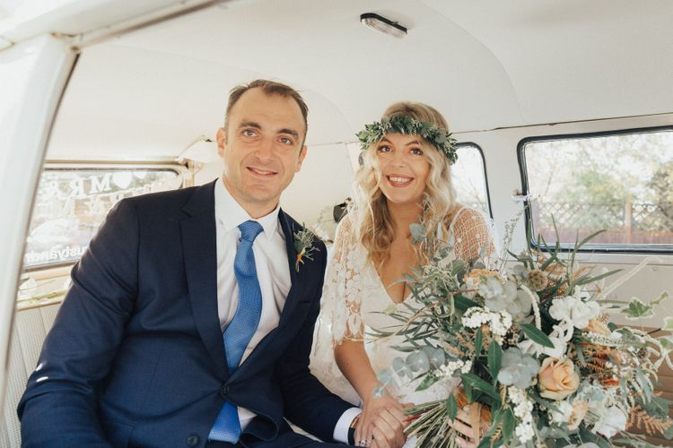 Boho Bride in Grace Loves Lace Wedding Dress with Foliage Flower Crown and Father of the Bride in the Camper Van Wedding Car