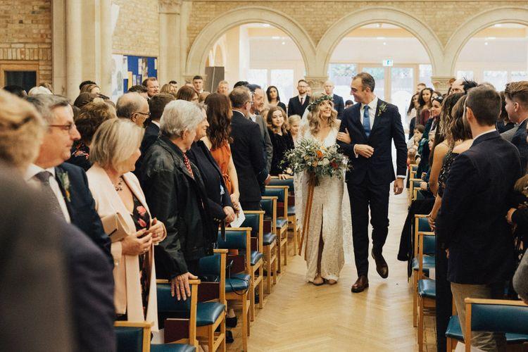 Wedding Ceremony Bridal Entrance in Grace Loves Lace Wedding Dress
