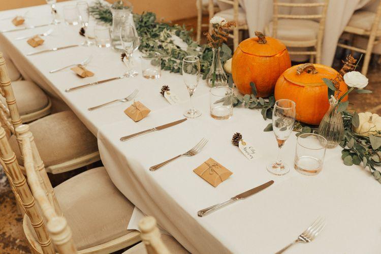 Parcel Wedding Favours and Pumpkin Top Table Wedding Decor