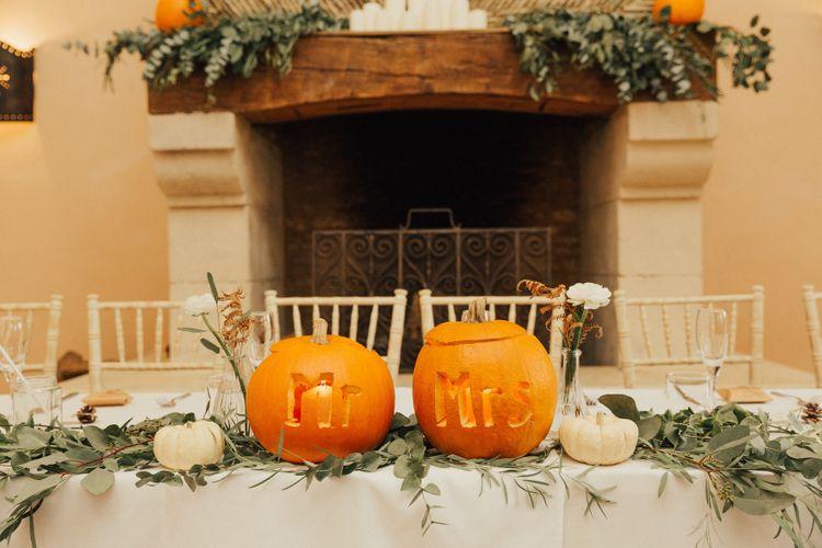 Mr & Mrs Pumpkin Carved Top Table Wedding Decor