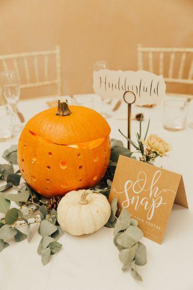 Orange and White Pumpkin Wedding Centrepieces