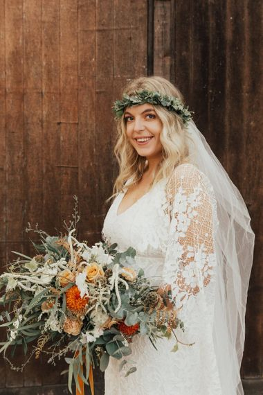 Boho Bride in Grace Loves Lace Wedding Dress with Foliage Flower Crown