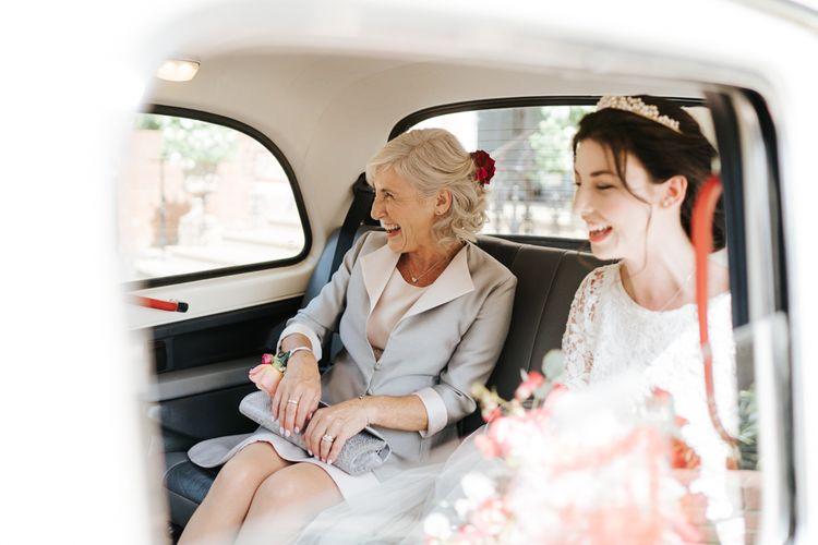 Bride on her way to Kew Gardens wedding venue in London