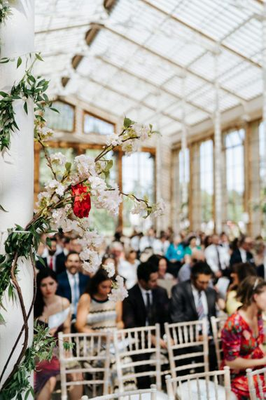 Flowers set up in the Nash Conservatory at Kew Gardens wedding