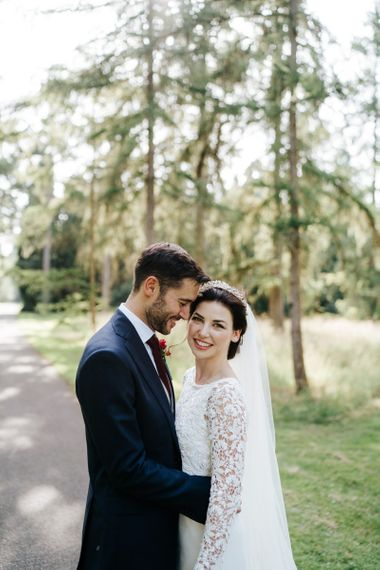 Bride in bridal crown at Kew Gardens wedding