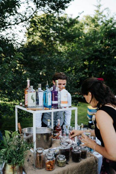 DIY Gin bar at Kew Gardens wedding