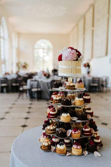 Cupcake wedding cake with pink flowers