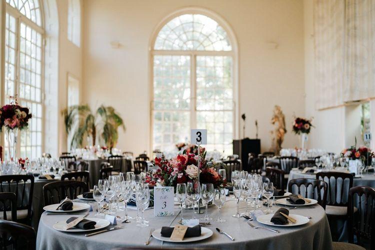 Table setup for wedding breakfast at the orangery in kew gardens