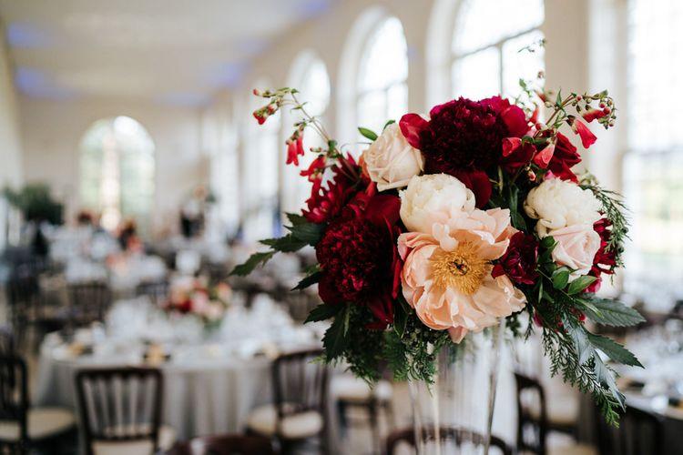 Pink flower centrepieces at Kew Gardens wedding
