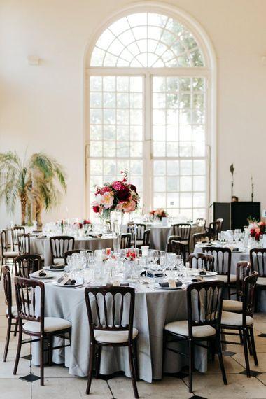 Table setup for wedding breakfast at the orangery in kew gardens wedding