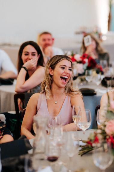 Guests enjoy emotional wedding speeches