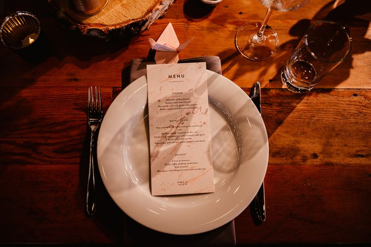 Paper Crane Place Setting | Copper Foil Wedding Breakfast Menu | Grey Napkin | Trinity Buoy Wharf Wedding Venue | String Lights, Perspex Table Signs and Paper Cranes for Industrial Wedding | Frankee Victoria Photography