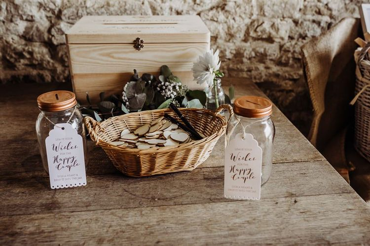 Wooden heart guest book at rustic styled wedding