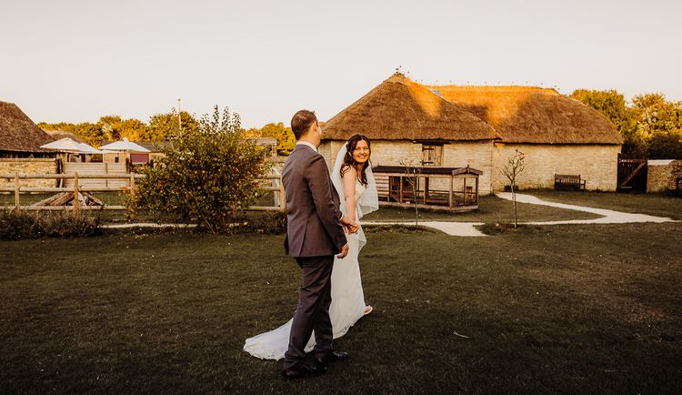 Cogges Manor Farm wedding in autumn with beautiful golden hour views