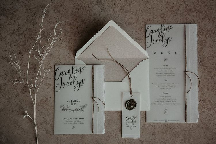 Wedding stationery for small wedding in France