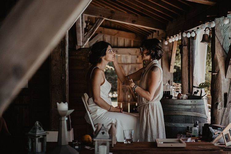 Bridal beauty preparations for small wedding in France