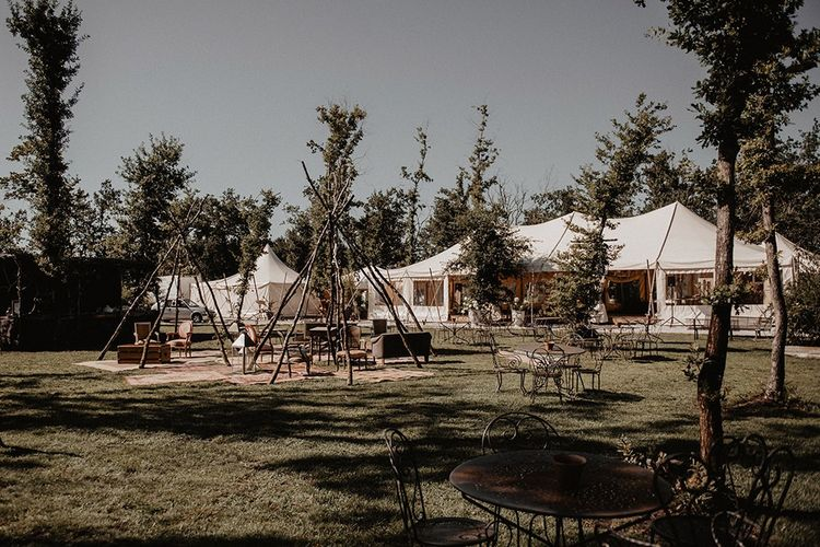 Beautiful marquee and seating area for  intimate wedding