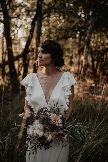 Ruffle sleeve wedding dress