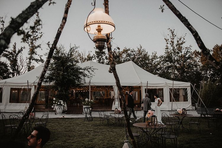 Naked tipi seating area at small wedding