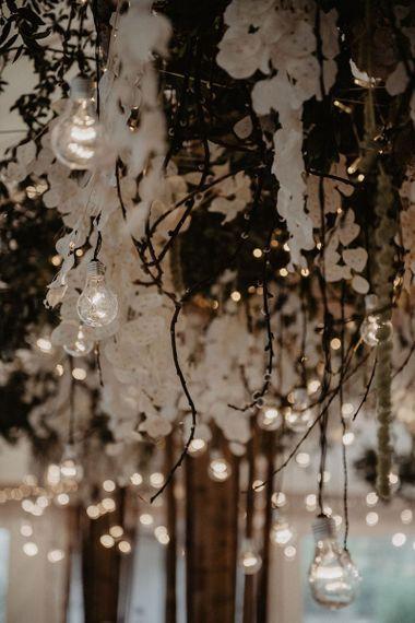 Hanging light and flower installation