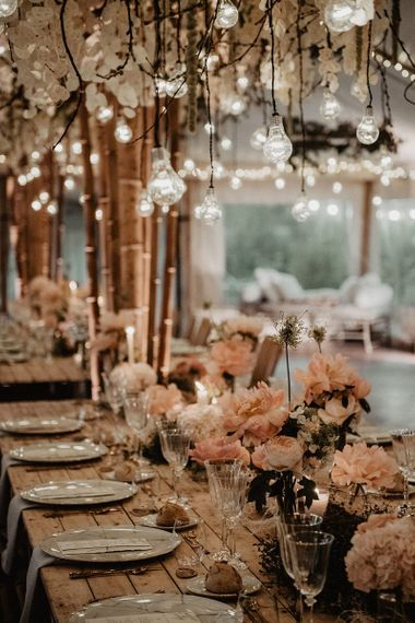 Stunning wedding table decor at intimate wedding in France