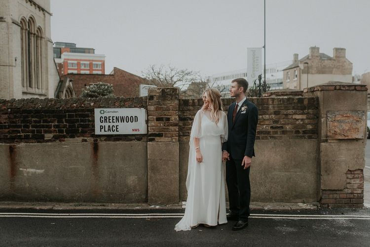 London City Wedding With Wedding Cape