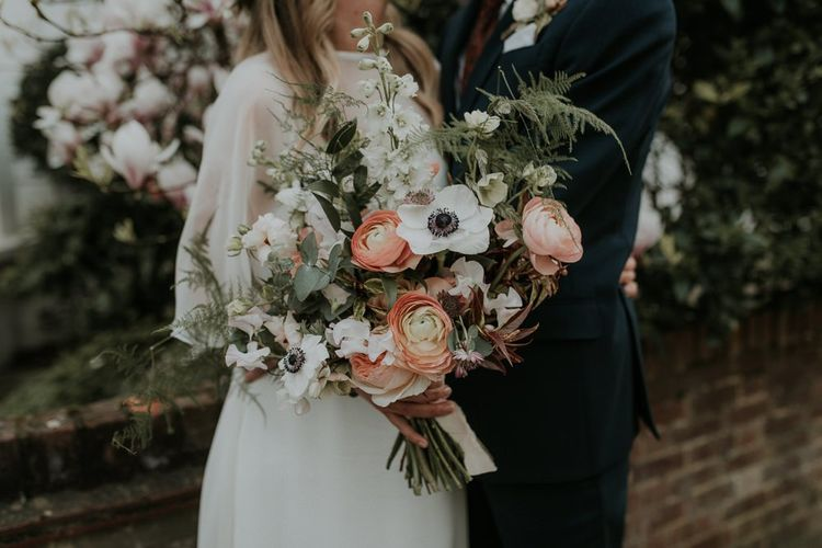 Wedding Bouquet with Anemones & Ranunculus Flowers
