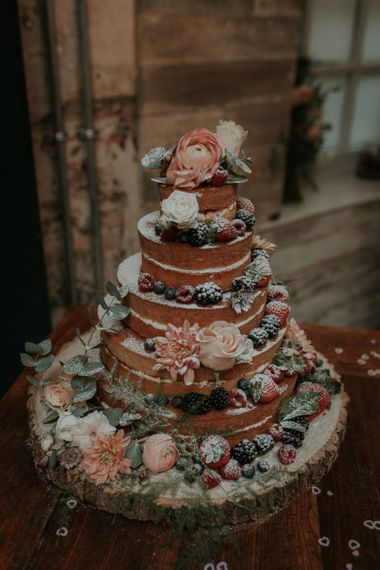 Waitrose Naked Wedding Cake Decorated With Berries and Flowers