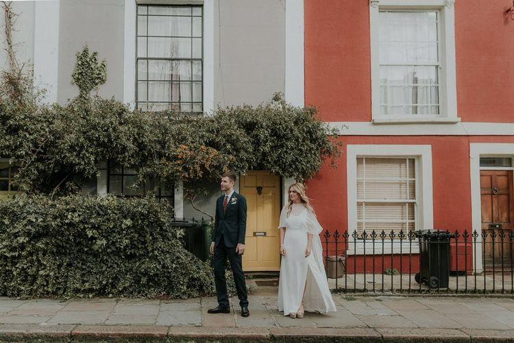 Bride In Lena Medoyeff Wedding Dress And Wedding Cape