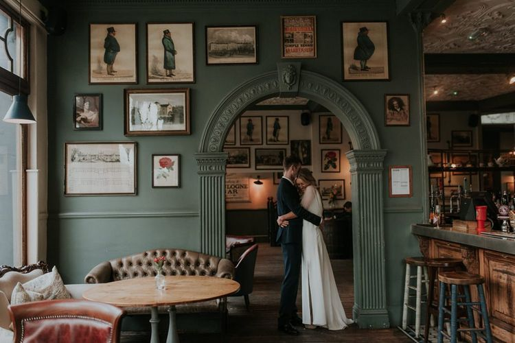 Bride and Groom In Bull & Gate City Reception Venue