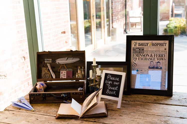Harry Potter Wedding Decor Including Daily Prophet,  Trunk, Quill and Candles