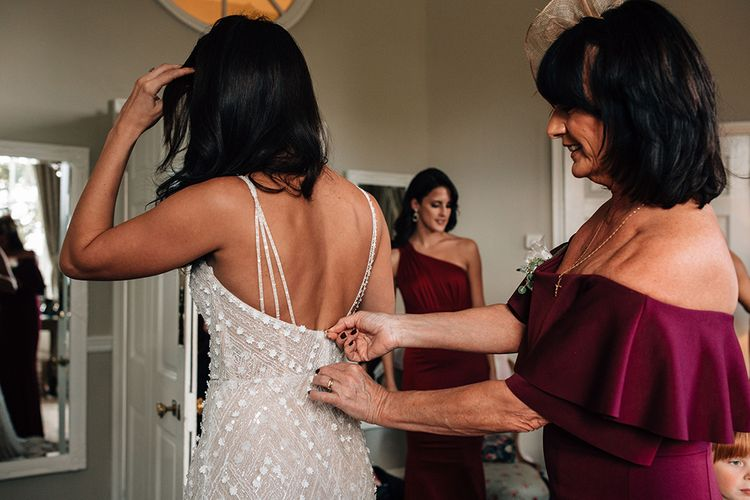 Wedding Morning Bridal Preparations with Bride in Embellished Wedding Dress