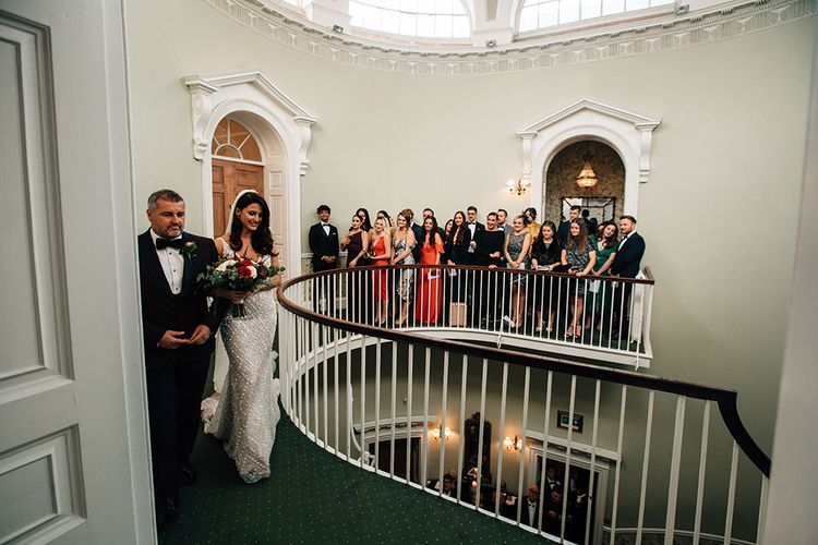 Wedding Ceremony Bridal Entrance Down the Winding Staircase