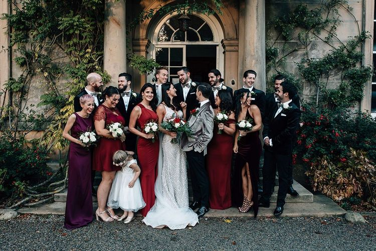 Wedding Party Portrait Outside Middleton Lodge