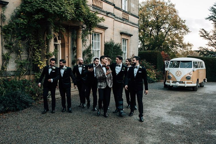 Groomsmen in Black Tie Suits and Grey Velvet Dinner Jacket