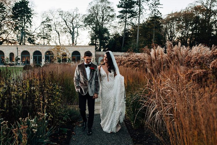 Stylish Bride and Groom in Hollywood-esque Fashion at the Middleton  Lodge Wedding