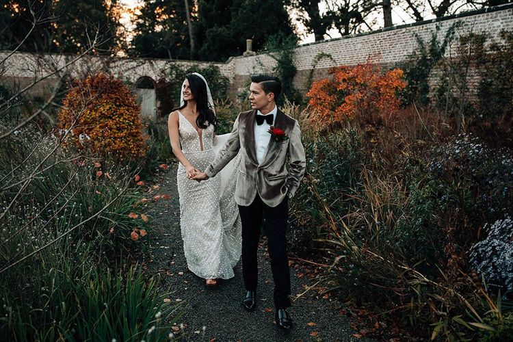 Groom in Grey Velvet Dinner Jacket and Bride in Sequin Wedding Dress