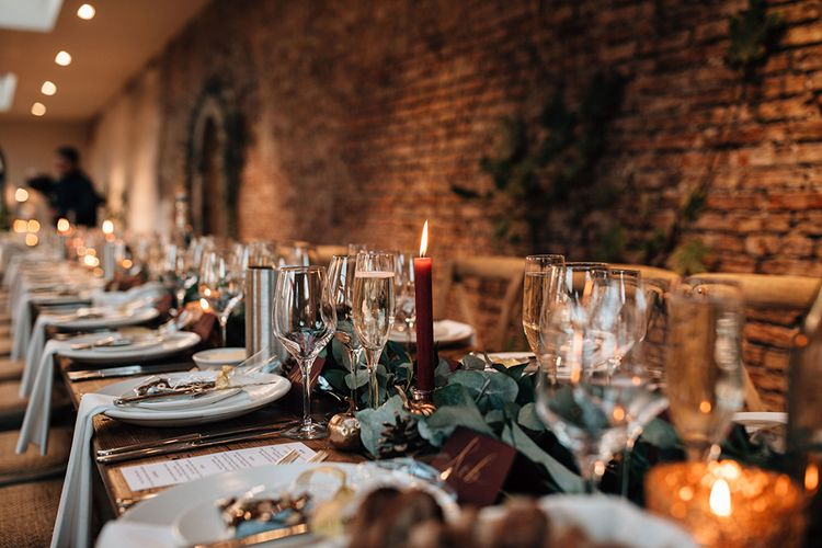 Autumnal Wedding Table Decor with Candlelight