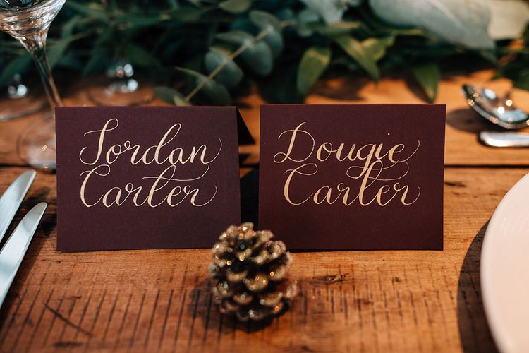 Pine Cone Wedding Decor and Name Place Cards