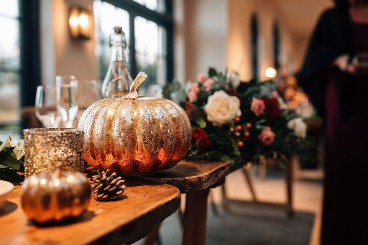 Gold Spray Painted Pumpkin Wedding Decor