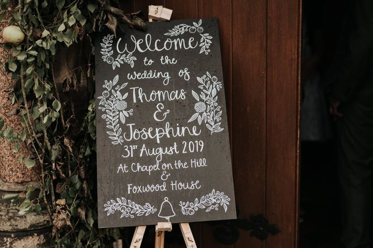 Chalkboard Wedding Signs at Wedding Ceremony Entrance