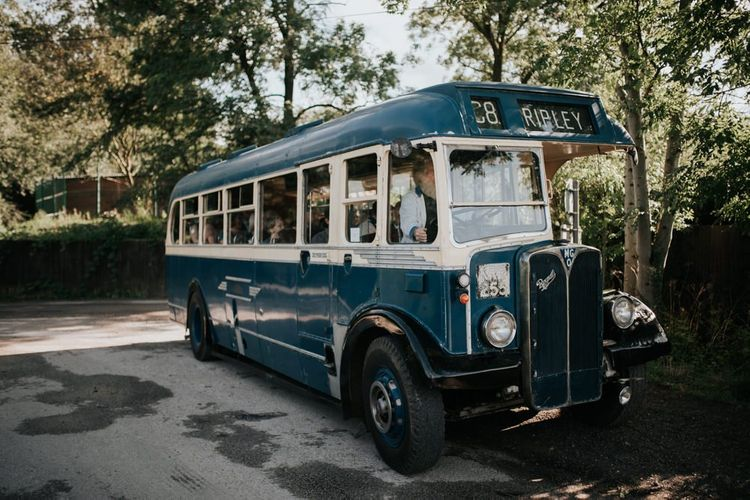 Vintage Bus Wedding Transport to Outdoor Garden Wedding