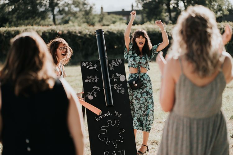 Chalkboard Wedding Signs for Reception Games at Outdoor Summer Wedding