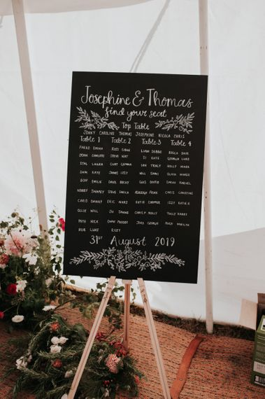 Chalkboard Wedding Seating Plan with Homegrown Wedding Flowers