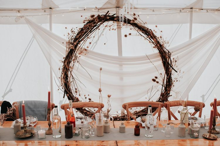 Homemade Wedding Decorations at Late Summer Marquee Wedding